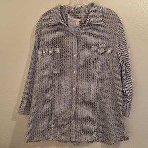 Chico's blue and white striped button flare shirt